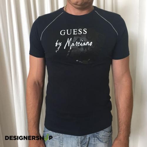 d6c6430ee348 Guess by Marciano modré pánske tričko s potlačou - designershop