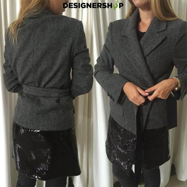 48cdd902f PINKO sivý kabát s čiernymi flitrami - designershop