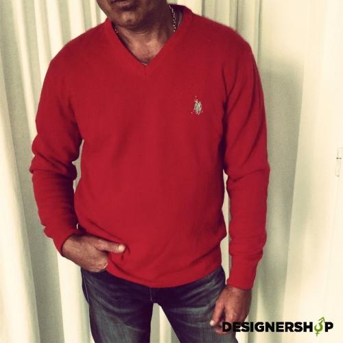 3d6a6763289a Us polo assn červený pánsky sveter v.L - designershop